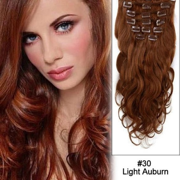 Accessories 18 8 Clips Wave Curly Hair Extension Light Auburn